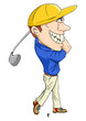 Caricature illustration of a golfer
