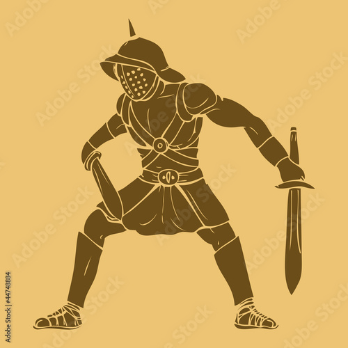 Gladiator in carved style illustration