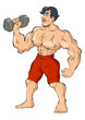 Cartoon illustration of a muscular man holding a dumbbell