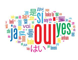 """Nuage de Tags """"OUI"""" (ok réponse positif accord vote référendum)"""
