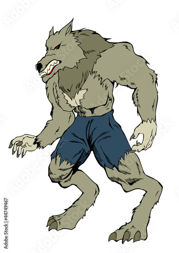 Cartoon illustration of a werewolf