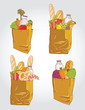 Paper bag with  food bread and fruits, vegetable