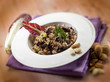 risotto with chicory and almond, selective focus