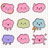 Collection of funny and cute happy kawaii clouds. poster