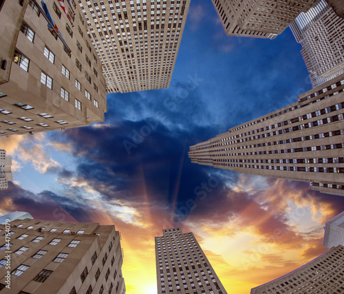 Upward view of Manhattan Office Buildings and Skyscrapers