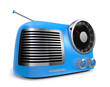 water blue metallic retro radio