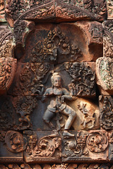 Apsara carved on the temple wall in Angkor Wat, Cambodia