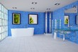 Blue Bathroom with Glass Bricks