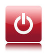 Red power icon button on white