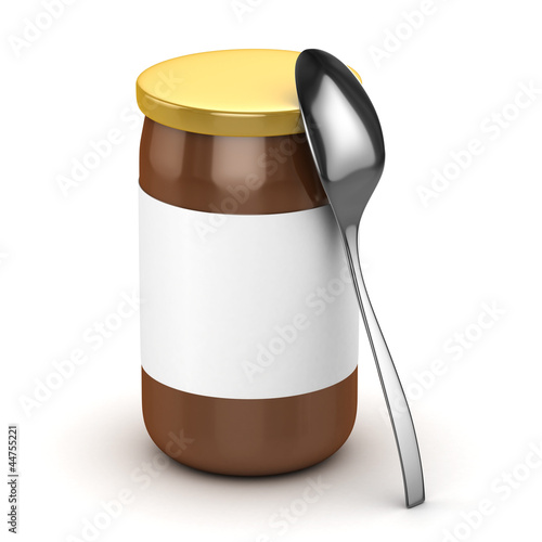 3d honey jar and spoon