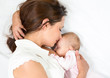 happy mother breast feeding her baby infant - 44755639