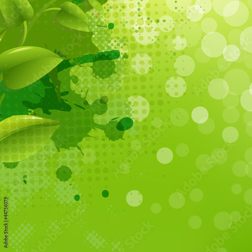Green Nature Background With Blur Blob And Leaf