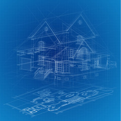Urban Blueprint (vector). Architectural background