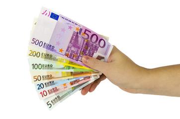 Hand hält Fächer mit Eurobanknoten von 5 bis 5