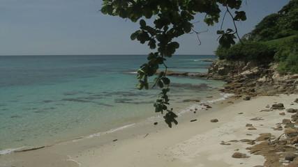 White sandy beach of a tropical island,Panama, central America