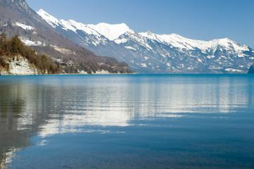 beautiful reflection of the Alps on Lake, Interlaken, Swiss
