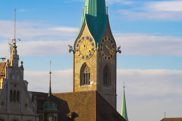 As the clock tower of the tales in Zurich
