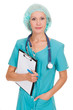 medical doctor woman with stethoscope and clipboard