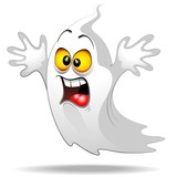 Scared Ghost Funny Halloween Cartoon Fantasma Spavento-Vector