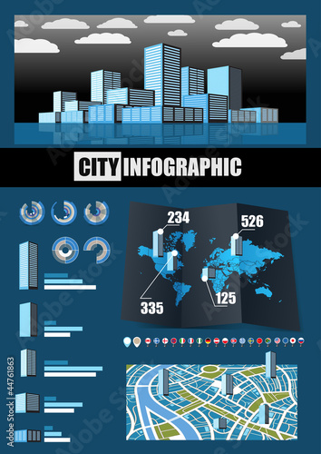 City infographics. Buildings in different countries