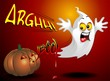 Funny Ghost and Pumpkin Halloween Cartoon Fantasma e Zucca