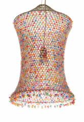 Абажур из сетки и  разноцветных бусин.