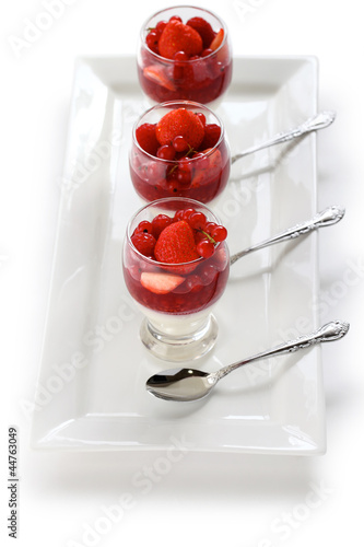 strawberry mousse verrine, french glass dessert
