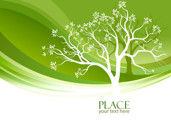 Abstract Tree in olive-green background