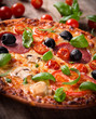 Tasty Italian pizza on wooden background
