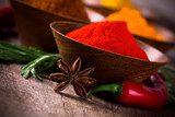 Assorted spices with fresh herbs