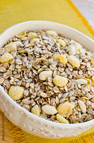 Bowl with cereals for breakfast, close-up