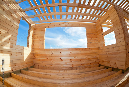 Construction of a new wooden house.