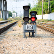 Red semaphore on a railway