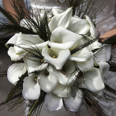 Wedding bouquet from white callas