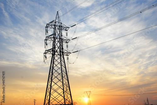 Ravenna, transmission lines at sunset. - 44767401