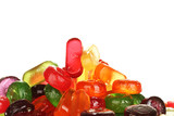 Tasty colorful candies on white background close-up