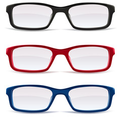 Eyeglasses – black, red and blue