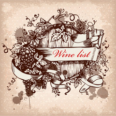 wine label design with grapes
