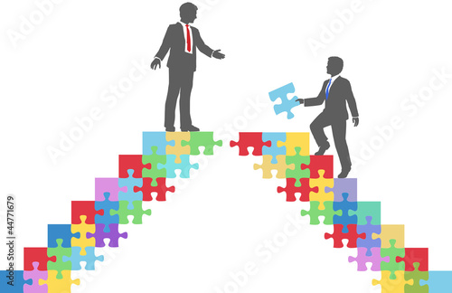 Business people join connect puzzle bridge