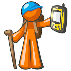Orange Man Backpacker with GPS