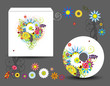 Envelope and cd cover, floral style for your design