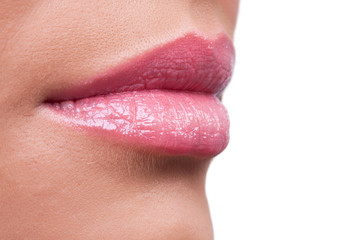 Profile of female lips