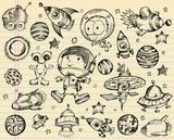 Outer Space Doodle Sketch Vector Illustration Set poster