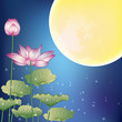 Lotus and Moon at Night