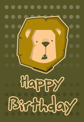 birthday card with illustration cute lion