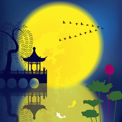 Oriental Ancient Scenery: Pavilion, Willow, Fish,Lotus and Moon