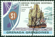stamp printed in Grenada shows image of Ancient sailing