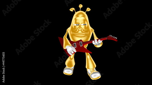 Golden 3D mr. Multic playing the electric guitar. Loop movie