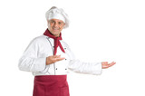 Mature chef showing