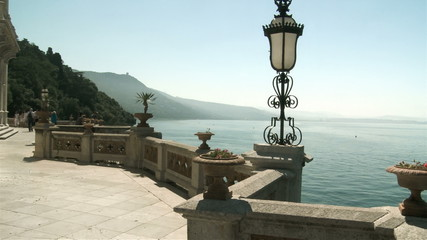 Balcony with a sea view, Miramare castle, Trieste, Italy